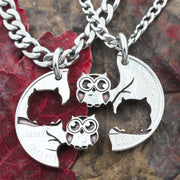 Owl Couples Necklaces, Owl Eyes looking at each other