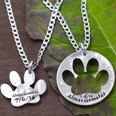 Dog Paw Memorial Necklaces, Custom Name and Date