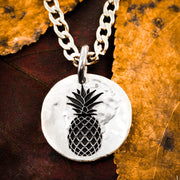 Pineapple Necklace, Hammered Silver Charm