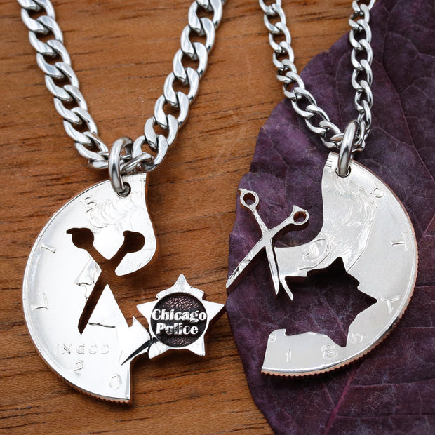 Hairdresser and Police Couples Necklaces, Scissors and City Badge Coin