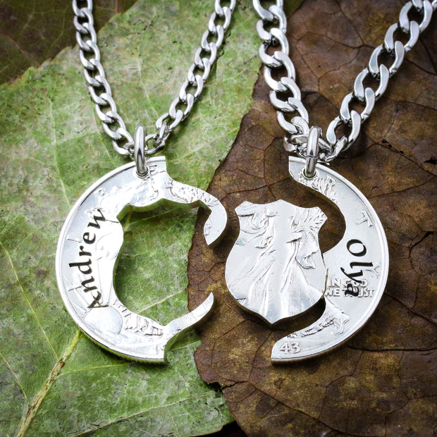 Police Couples Shield Necklaces, Names Engraved, Hand cut coin
