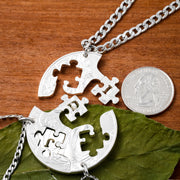 3 BFF Personalized Puzzle Piece Coin Jewelry, 3 Family Initials Gift