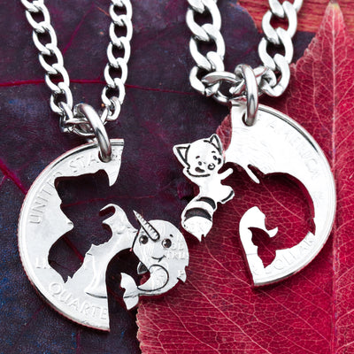 Red Panda and Narwhal Best Friends Necklaces