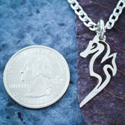 Seahorse Couples Necklaces, Relationship Jewelry, Interlocking hand cut coin