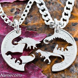 Raptor Stegosaurus Dinosaur Necklaces for Best Friends, Hand Cut Coin