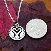 Heart of Swan Necklace, Anniversary Date Gift