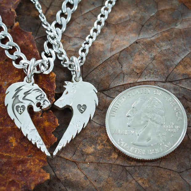 Tribal Tiger and Wolf Couples Necklaces , Custom initials Engraved in Hearts, Hand Cut Coin