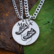 Track Field Best Friends Initial Necklaces
