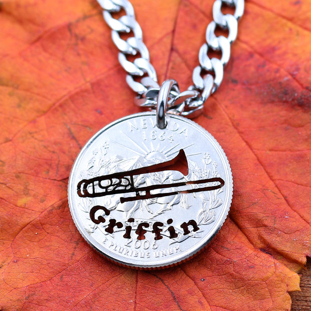 Trombonist Musician Necklace, Engraved name, Trombone Gift Coin