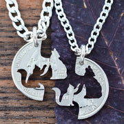 Cat and Wolf Interlocking Necklaces, Kitty Wolfie hand cut coin