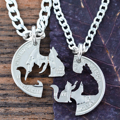 f9e02e47ec Cat and Wolf Interlocking Necklaces, Kitty Wolfie hand cut coin