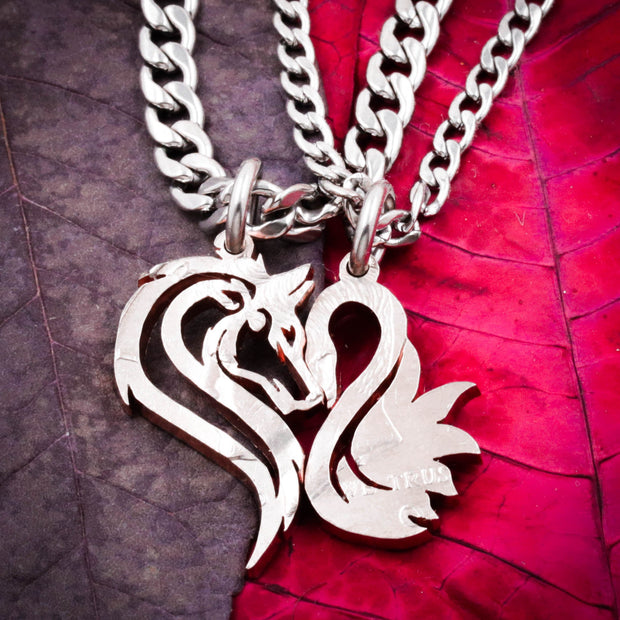 Wolf and Swan Couples Necklaces