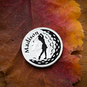Girl Golfer, Engraved Name, Woman's Golf Marker
