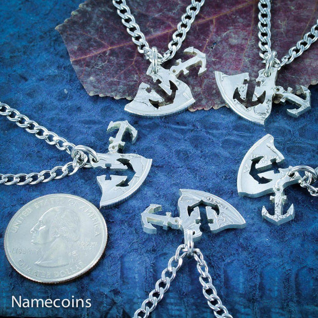 Anchors Away, 5 Necklaces, Best Friends and Family, Hand cut coin
