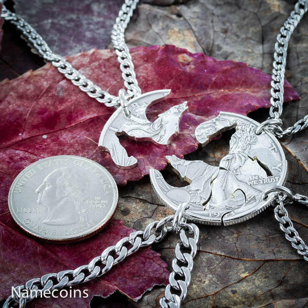 4 Best Friends Wolf Necklaces, Wolf pack