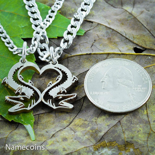 Alligator couples necklaces, Heart jewelry, Hand Cut Coin