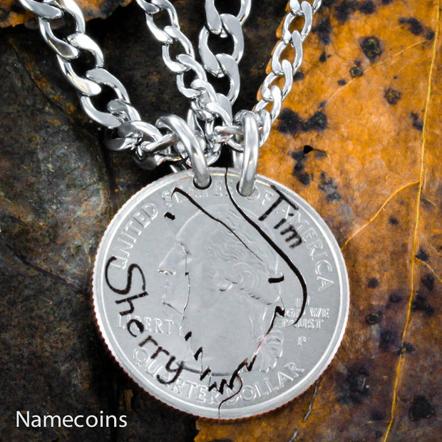 Howling Wolf Couples necklaces with Custom engraved names