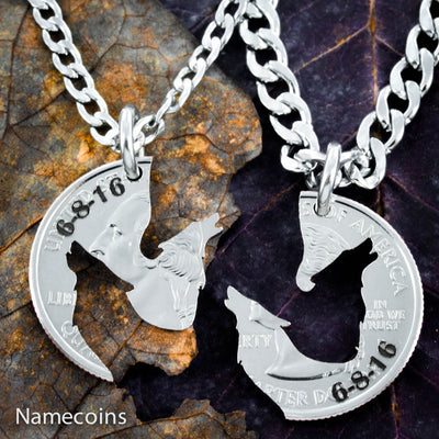 Howling Wolf Interlocking necklaces with custom anniversary date engraved
