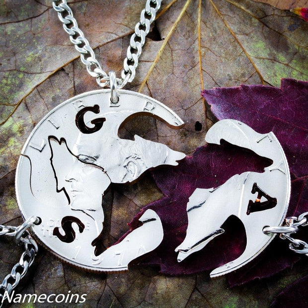 Personalized Wolves, 3 Piece Necklace, Real Coin