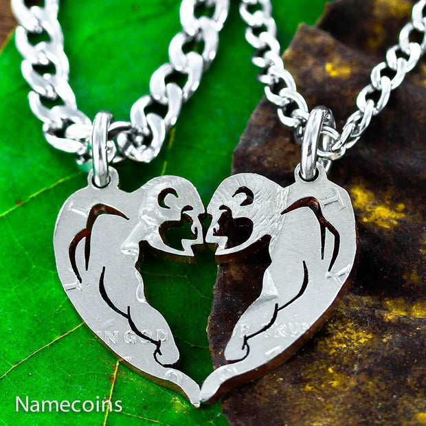 Tribal Monkey's Necklace Set, Friendship necklaces, Half Dollar Cut Coins by Namecoins