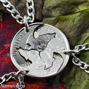 Wolf Friendship necklaces, 3 piece Interlocking quarter jewelry set, hand cut coin