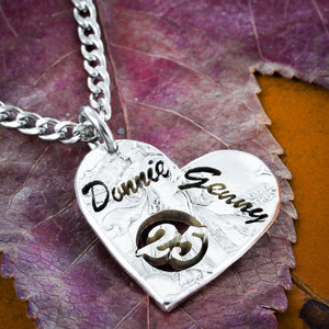 25th Anniversary Necklace, Custom name husband wife jewelry