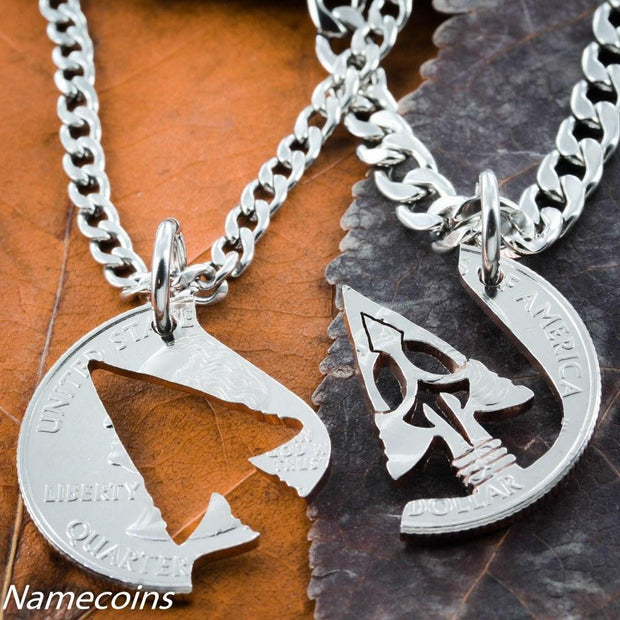 Arrowhead Friends or couples Necklaces, American Indian Jewelry Hand Cut Coin by Namecoins