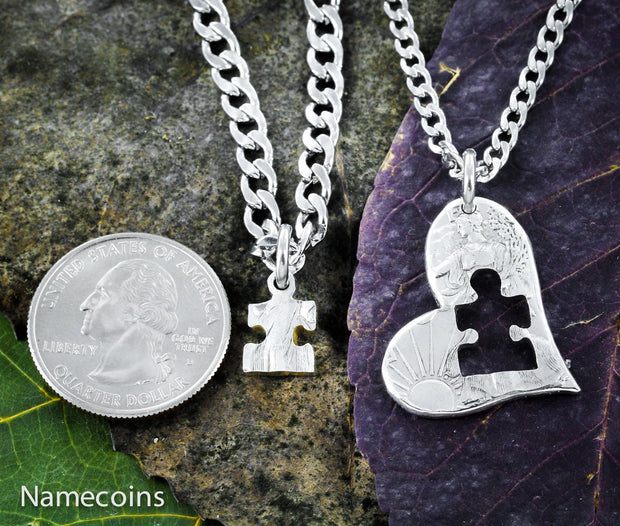 Autism Jewelry, Puzzle Piece and Heart, half dollar by Namecoins