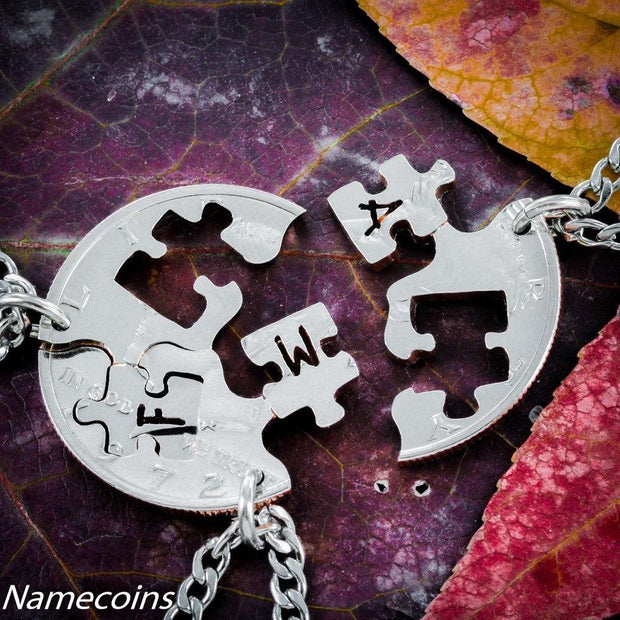 Personalized Puzzle Piece Jewelry, 3 Piece Necklaces, Half dollar