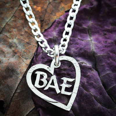 Bae Heart Necklace, hand cut coin