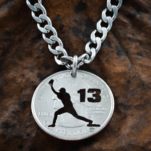 Personalized Baseball Catcher Necklace, Custom Jersey Number