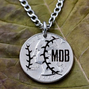 Personalized Baseball Necklace, Custom Initials,