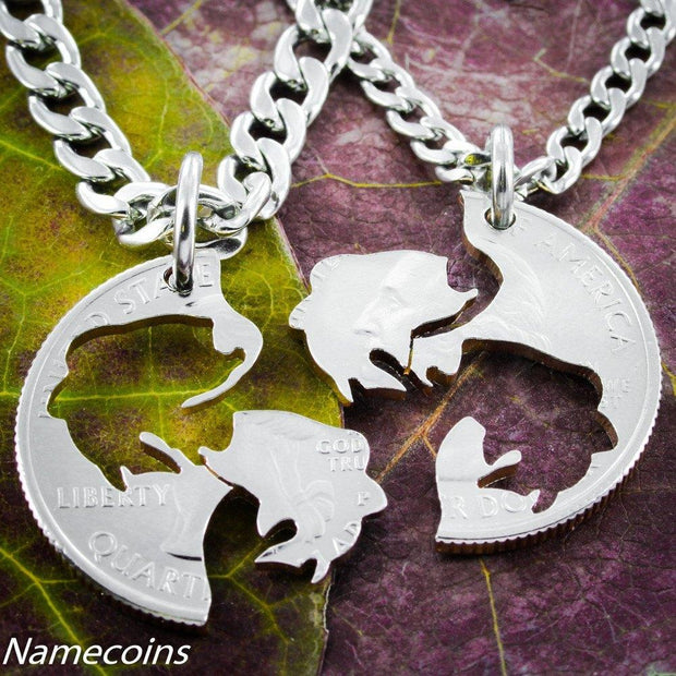 Bass Fishing Couples necklaces, Interlocking hand cut coin by NameCoins