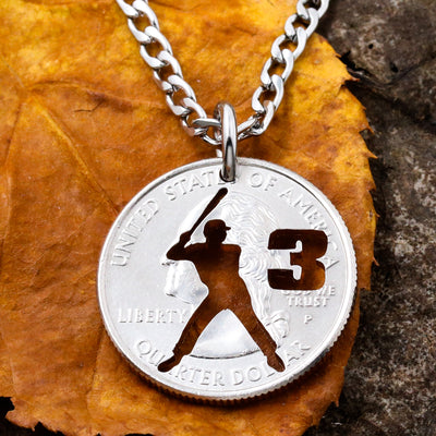 Baseball Batter Necklace, Custom Jersey Number