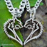 Bear Couples Necklaces that are in a heart shape