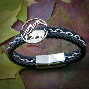 Bear Mountain Bracelet, Colorado Wilderness Leather Bracelet