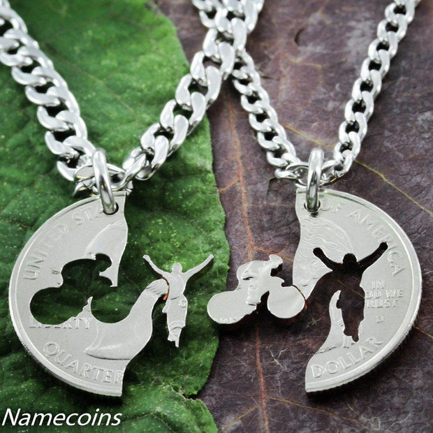 Bike necklace set, Interlocking hand cut coin