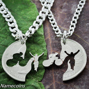 Bike necklace set, Interlocking hand cut coin by NameCoins
