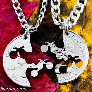 Dirt Bike Couples Necklaces, Motocross Guys Jewelry