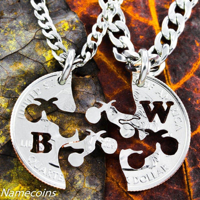 Dirt bike Jewelry, custom with your initials, extreme couples Interlocking Relationship quarter, hand cut coin