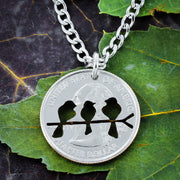 Family Love Bird Necklace, Hand cut coin