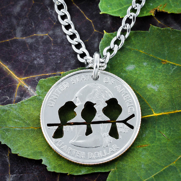 Family Love Bird Necklace, Hand cut coin by NameCoins