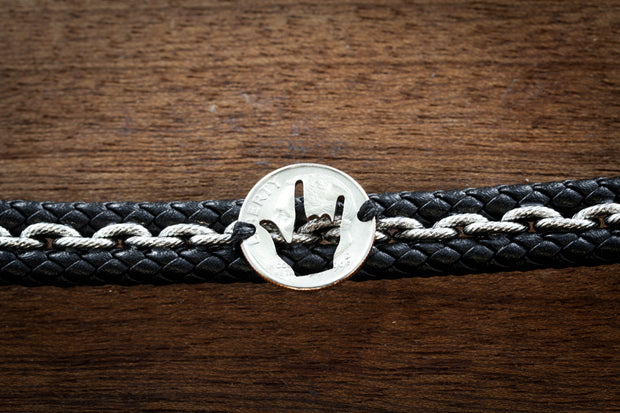 ASL I Love You Woven Leather Bracelet