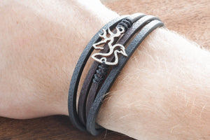 Buck and Duck Leather Strand Wrap Bracelet, Hunting Bracelet