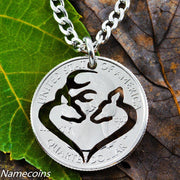 Buck and Doe Heart Silhouette, Hand Cut Coin Jewelry, Deer