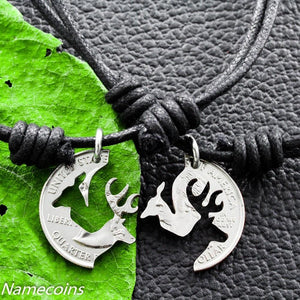 Buck and Doe on Black Cord Necklaces, Interlocking Love Quarter,Couples Puzzle