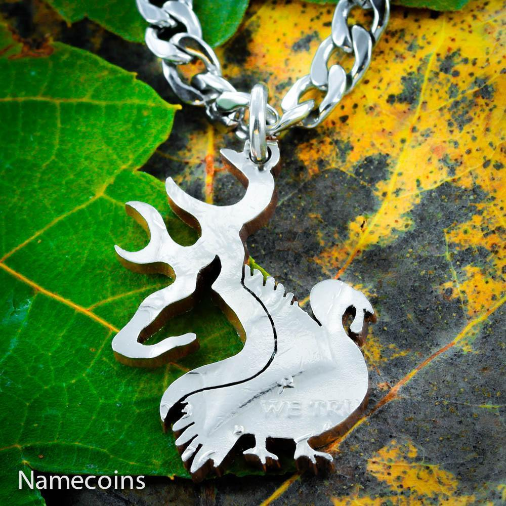 Buck and Turkey Necklace, Deer Hunting, Hand Cut Coin by