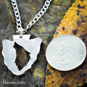 Arrowhead Howling Wolf Necklace Cut from a US Half Dollar by Namecoins