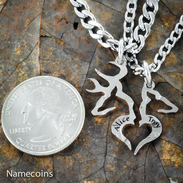 Buck and Doe Heart couples necklaces with engraved names