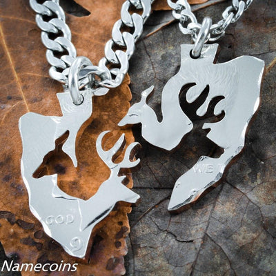 Couples Buck and Doe Arrowhead Necklace Set